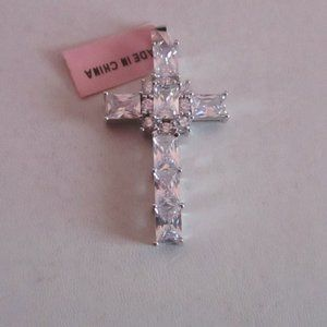 Jewelry - Simulated White Diamond Cross Pendant